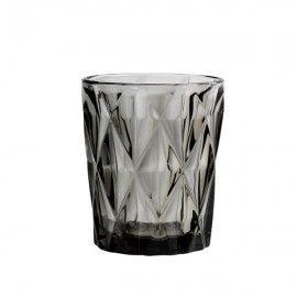 Set vasos cristal ahumado negro. 2 un