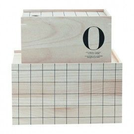"Caja almacenamiento ""O"" de madera."