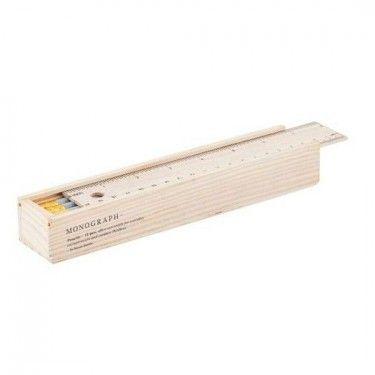 Estuche madera con 12 lápices gris claro y goma.