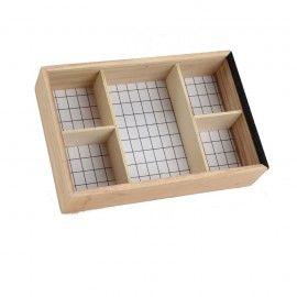 Caja infusiones de madera con tapa deslizante de vidrio.