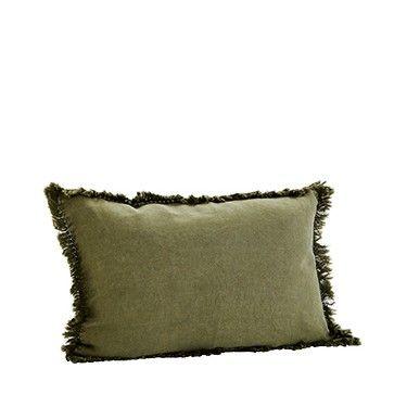 Cojín verde oliva lino.