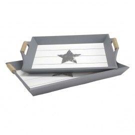 Bandeja madera gris y blanco estrella.
