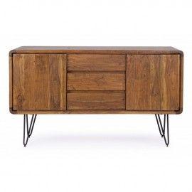 Aparador madera de acacia vintage. 145x45x85cm.