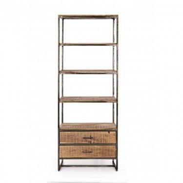 Estantería de madera de acacia con 2 cajones inferiores.
