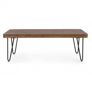 Mesa de centro cpn sobre de madera y patas de hierro.