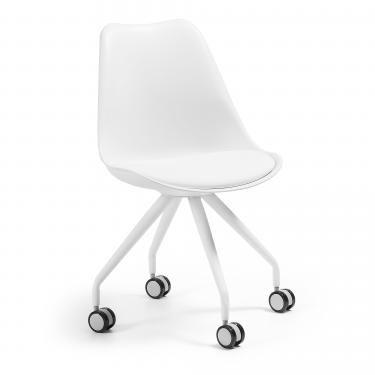 LARS Silla escritorio metal blanco plástico blanco - Imagen 1