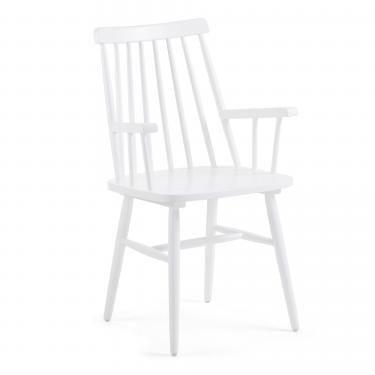 KRISTIE Silla brazos madera blanco - Imagen 1