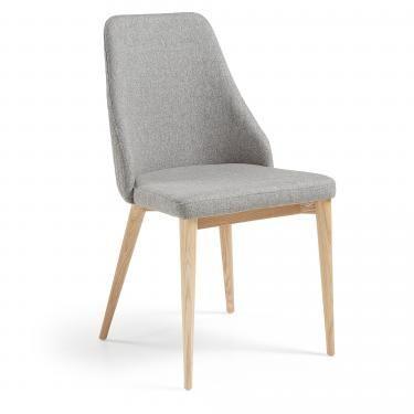 ROXIE Silla madera nat tela acolchada gris claro - Imagen 1