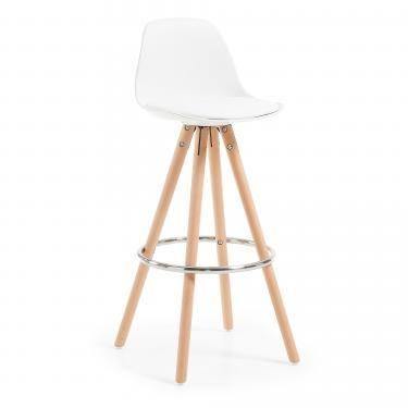 STAG Taburete alto madera plástico blanco Pu blanco - Imagen 1