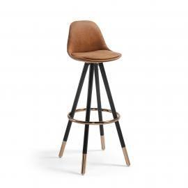 STAG Taburete alto madera negro tela marrón óxido