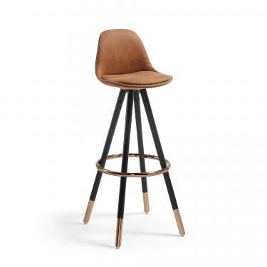 STAG Taburete alto madera negro tela marrón óxido - Imagen 1