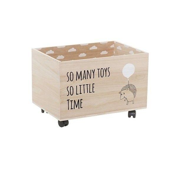 Caja de almacenamiento de madera natural con ruedas - Caja madera con ruedas ...