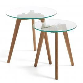 BRICK Set 2 mesas auxilia Ø50 madera natural cristal