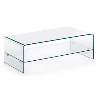BURANO Mesa de centro 110x55 cristal transparente - Imagen 1