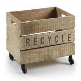 YCER Caja con ruedas madera natural