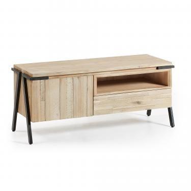 DISSET Mueble Tv 125x053 metal, acacia natural - Imagen 1