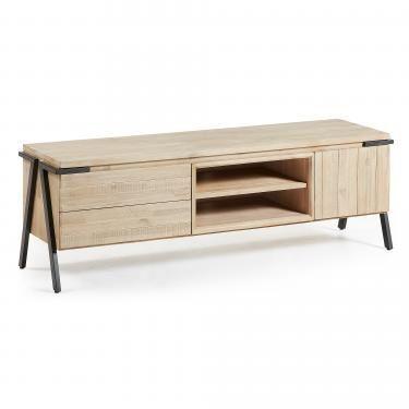 DISSET Mueble Tv 165x53 metal, acacia natural - Imagen 1