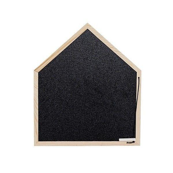 Pizarra con forma de casita y marco de madera. Incluye tiza.