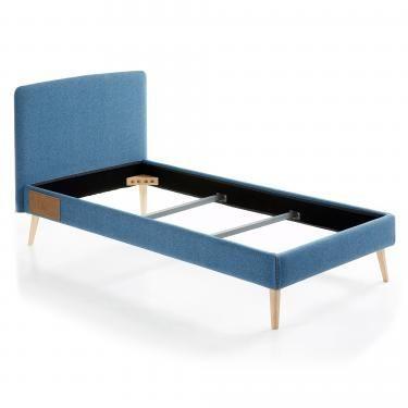 LYDIA Cama 90x190 cm tela azul oscuro - Imagen 1