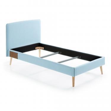 LYDIA Cama 90x190 cm tela azul claro - Imagen 1