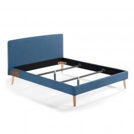 LYDIA Cama 160x200 cm tela azul oscuro