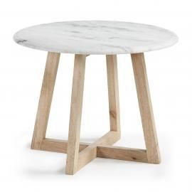 HELLA Mesa auxiliar maderay mármol. 50x50x35 cm.