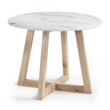 HELLA Mesa auxiliar madera mango marmol blanco - Imagen 1