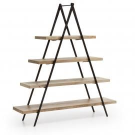NAGROM Estantería 160x175 metal negro, madera mango