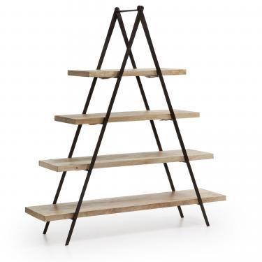 NAGROM Estantería 160x175 metal negro, madera mango - Imagen 1