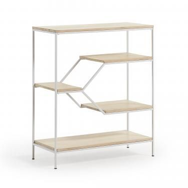 PYKE Estantería 80x93 metal blanco, madera mango - Imagen 1