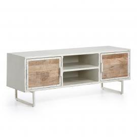 SPOOL Mueble Tv 140x52 metal blanco, madera mango