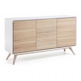 QUATRE Aparador madera fresno, dm blanco mate. 154x45x88 cm.