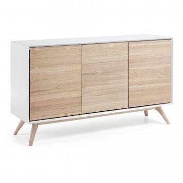 QUATRE Aparador 154x88 madera fresno, dm blanco mat - Imagen 1