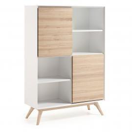QUATRE Estantería 104x152 madera fresno, dm blanco mat