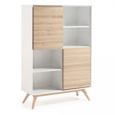 QUATRE Estantería 104x152 madera fresno, dm blanco mat - Imagen 1