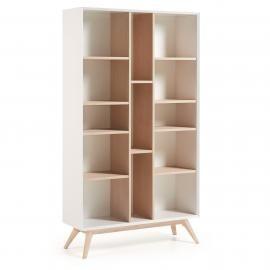 QUATRE Estantería 104x184 madera fresno, dm blanco mat