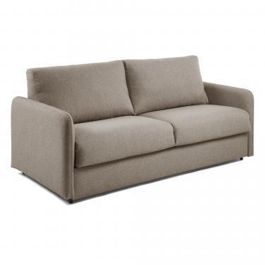 KOMOON Sofá cama 140 colchón visco, marrón - Imagen 1