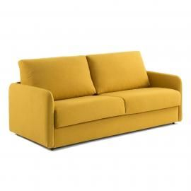 KOMOON Sofá cama 160 colchón visco, mostaza