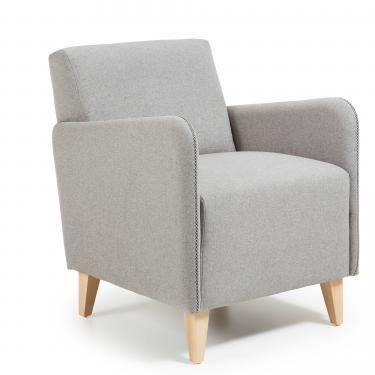 KOPA Butaca madera natural tela gris - Imagen 1
