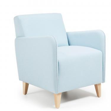 KOPA Butaca madera natural tela azul claro - Imagen 1