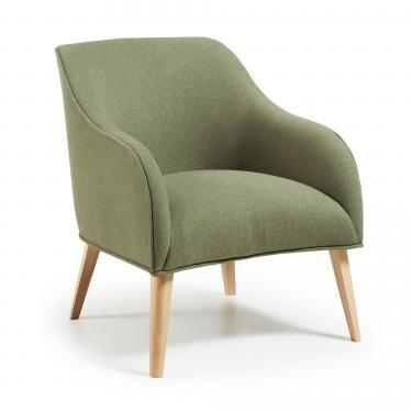 LOBBY Butaca madera natural tela verde - Imagen 1