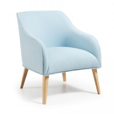 LOBBY Butaca madera natural tela azul claro - Imagen 1