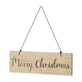 Letrero Merry Christmas en madera con cuerda negra.