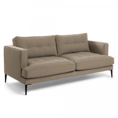 VINNY Sofá 3 plazas pies metal tela marrón claro - Imagen 1