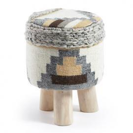 LOK Reposapiés madera eucalipto lana multicolor