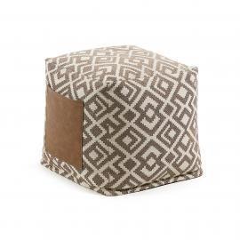 MALANI Puf 45x45 tela combinación marrón