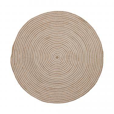 SAMY Alfombra yute redonda 150 natural blanco - Imagen 1