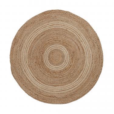SAMY Alfombra yute redonda 100 natural y gris claro - Imagen 1