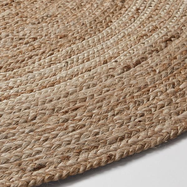 SAMY Alfombra yute redonda 100 natural y gris claro