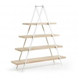 NAGROM Estantería 160x175 metal blanco, madera mango